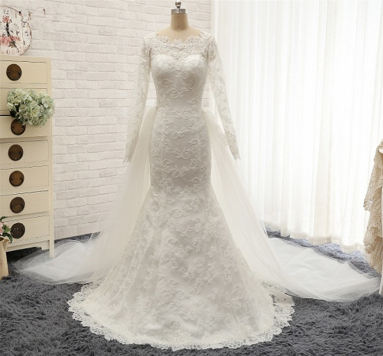BMbridal Chic White Satin Mermaid Wedding Dresses Jewel Longsleeves With Appliques On Sale_8