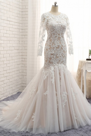BMbridal Elegant Longsleeves Jewel Mermaid Wedding Dresses Champagne Tulle Bridal Gowns With Appliques On Sale_4