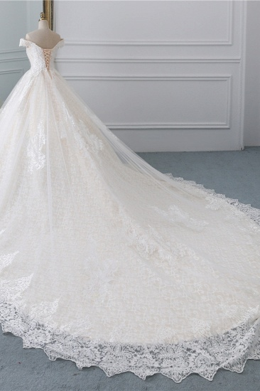 Luxury Ball Gown Off-the-Shoulder Lace Wedding Dress Sweetheart Sleeveless Appliques Bridal Gowns On Sale_4