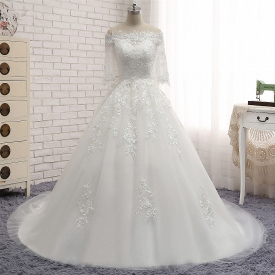 Gorgeous Bateau Halfsleeves White Wedding Dresses With Appliques A-line Tulle Ruffles Bridal Gowns Online_7