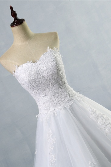 Stylish Strapless Sweetheart A-Line Wedding Dress Sleeveless Appliques Bridal Gowns Online_5