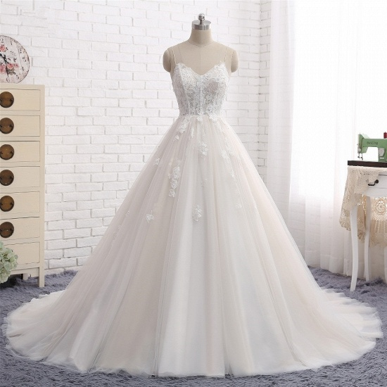 BMbridal Affordable Spaghetti Straps Sleeveless Lace Wedding Dresses A-line Tulle Ruffles Bridal Gowns On Sale_7