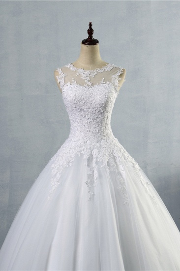 BMbridal Ball Gown Jewel Tulle Lace Wedding Dress White Appliques Sleeveless Bridal Gowns On Sale_5