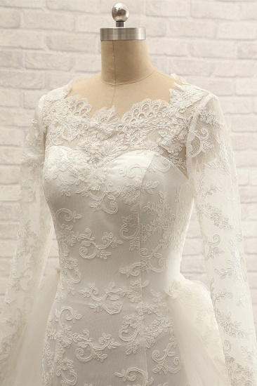 BMbridal Chic White Satin Mermaid Wedding Dresses Jewel Longsleeves With Appliques On Sale_7