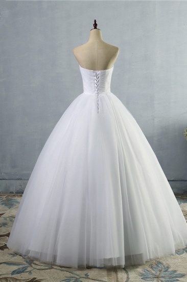 Gorgeous Strapless Sweetheart Tulle Wedding Dress Sleeveless Ruffles Bridal Gowns with Beadings Sash_3