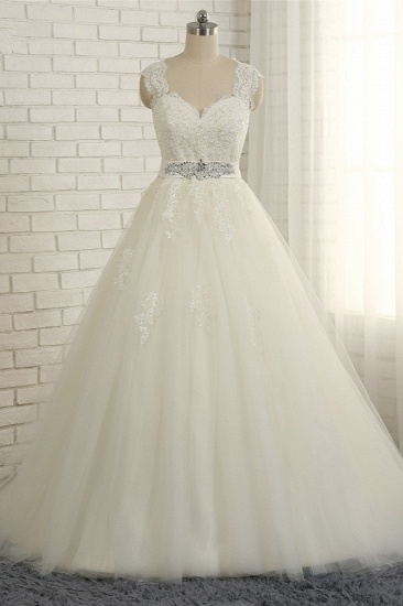 BMbridal Sexy Straps Sleeveless Lace Wedding Dresses With Appliques A line Tulle Ruffles Bridal Gowns On Sale_1