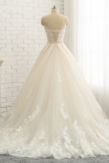 Glamorous Jewel Tulle Champagne Wedding Dress Appliques Sleeveless Overskirt Bridal Gowns with Beading Sash Online_3