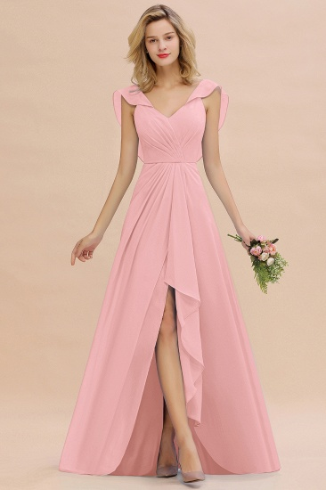 Modest Hi-Lo V-Neck Ruffle Long Bridesmaid Dress with Slit_4