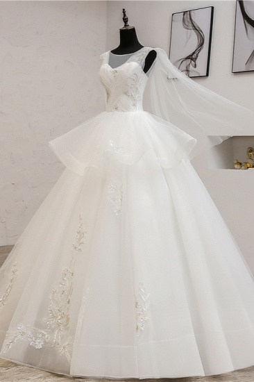 Gorgeous Jewel Sleeveless White Wedding Dress Tulle Appliques Bridal Gowns Online_5