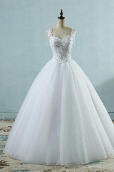 Glamorous Straps Sweetheart White Wedding Dress Sleeveless Appliques Beadings Bridal Gowns