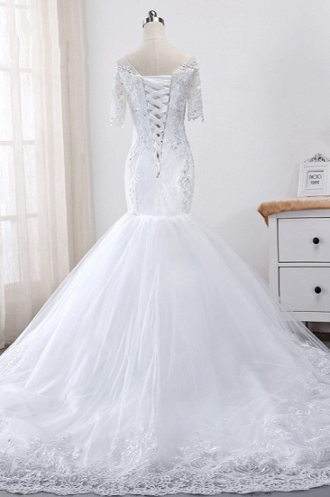 BMbridal Glamorous Jewel Tulle Lace Wedding Dress Mermaid Short Sleeves Beading Bridal Gowns Online_3