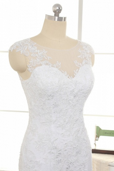 BMbridal Gorgeous White Mermaid Lace Wedding Dresses With Appliques Jewel Sleeveless Bridal Gowns Online_5