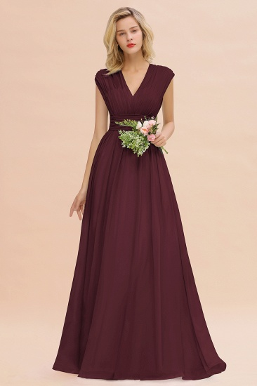 Elegant Chiffon V-Neck Ruffle Long Bridesmaid Dresses Affordable_47