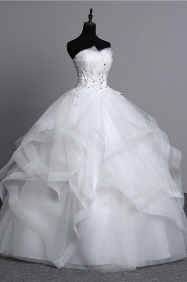 Gorgeous Strapless Tulle Layers Wedding Dress Appliques Beadings Bridal Gowns Online_4