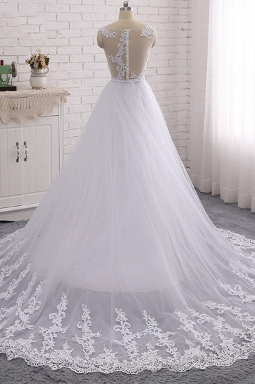 BMbridal Stylish Jewel Mermaid Lace Appliques Wedding Dress White Sleeveless Beadings Bridal Gowns with Overskirt On Sale_3