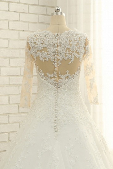 BMbridal Elegant A-Line Jewel White Tulle Lace Wedding Dress 3/4 Sleeves Appliques Bridal Gowns with Pearls_2