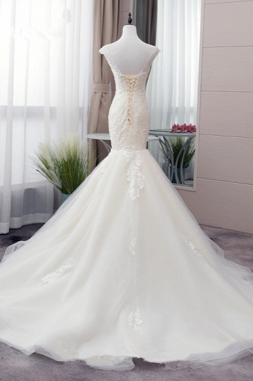 Glamorous Jewel Tulle Mermaid Iovry Wedding Dress Lace Appliques Sleeveless Bridal Gowns On Sale_3