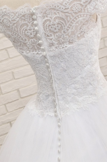 Modest Bateau Tulle Ruffles Wedding Dresses With Appliques A-line White Lace Bridal Gowns On Sale_6