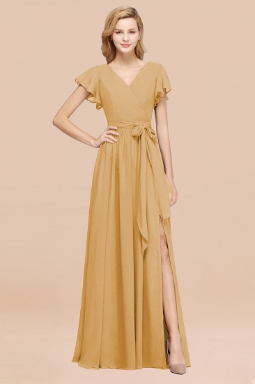 BMbridal Burgundy V-Neck Long Bridesmaid Dress With Short-Sleeves_13
