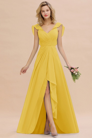 Modest Hi-Lo V-Neck Ruffle Long Bridesmaid Dress with Slit_17