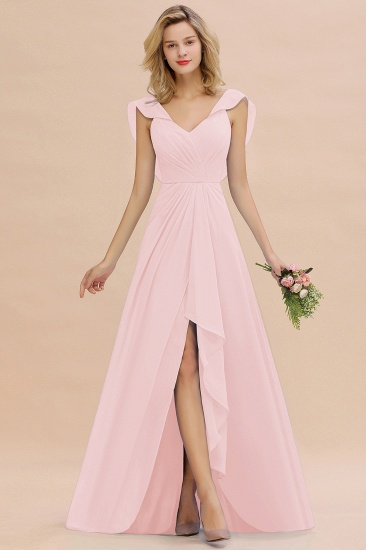 BMbridal Modest Hi-Lo V-Neck Ruffle Long Bridesmaid Dress with Slit_3
