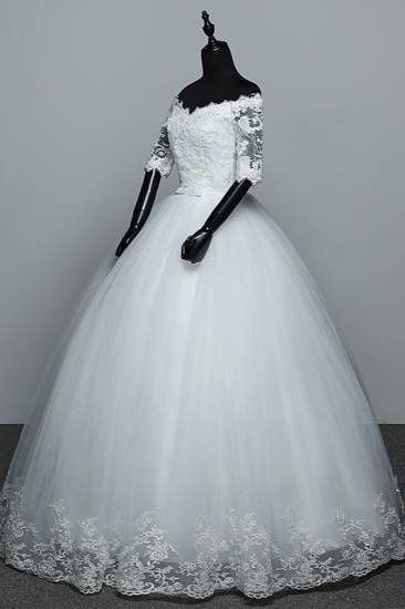 Gorgeous Off-the-Shoulder Sweetheart Wedding Dress Tulle Lace White Bridal Gowns with Half Sleeves_5