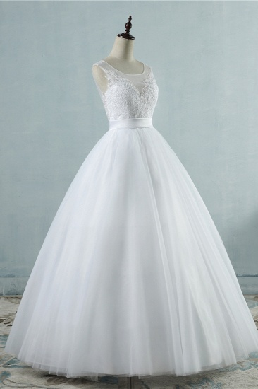 BMbridal Chic Square Neckling Sleeveless Wedding Dresses White Tulle Lace Bridal Gowns On Sale_5