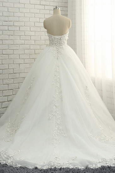 Gorgeous Sweatheart White Wedding Dresses With Appliques A line Tulle Ruffles Bridal Gowns Online_3
