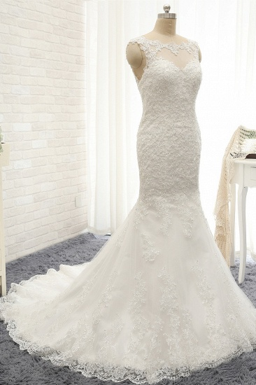 Gorgeous Sleeveless Appliques Beadings Wedding Dress Jewel Tulle White Bridal Gowns On Sale_4