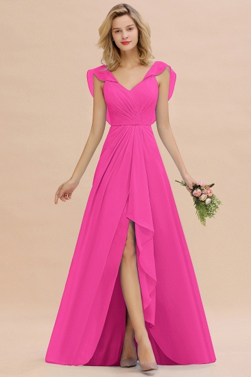 Modest Hi-Lo V-Neck Ruffle Long Bridesmaid Dress with Slit_9