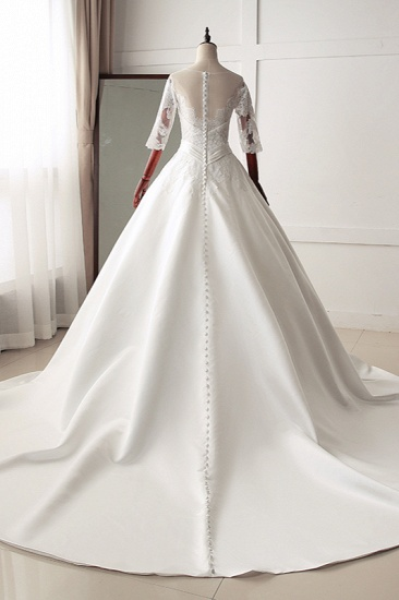 Stunning Jewel Satin Tulle White Wedding Dress Half Sleeves Appliques Bridal Gowns Online_3
