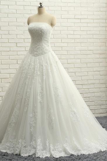 BMbridal Gorgeous Bateau White Tulle Wedding Dresses A line Ruffles Lace Bridal Gowns With Appliques Online_4
