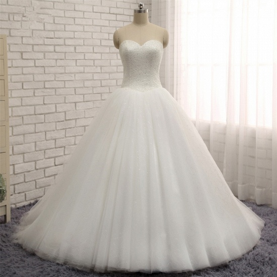 BMbridal Chic Sweetheart Pearls White Wedding Dresses A-line Tulle Ruffles Bridal Gowns Online_7