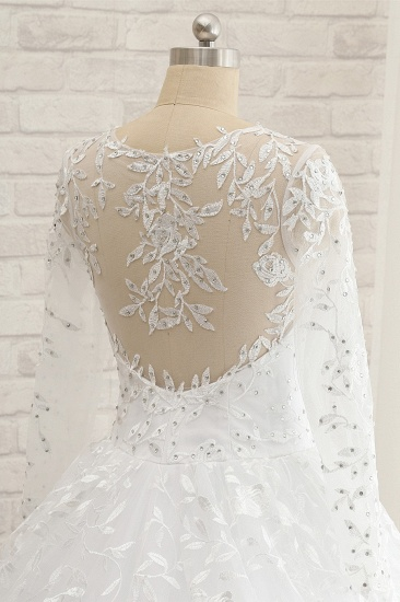 Elegant Jewel Longsleeves Lace Wedding Dresses White A-line Bridal Gowns With Appliques On Sale_5