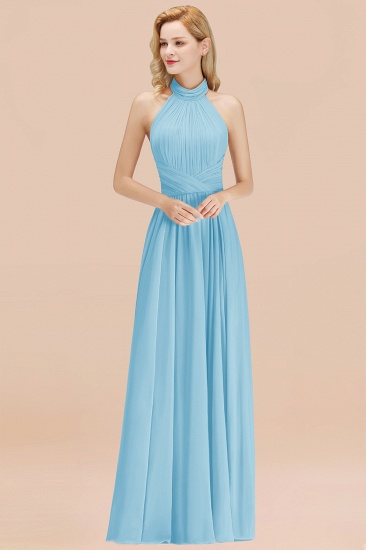 Gorgeous High-Neck Halter Backless Bridesmaid Dress Dusty Rose Chiffon Maid of Honor Dress_23