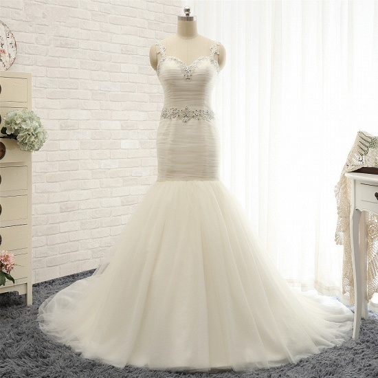 Unique Ivory Straps Mermaid Wedding Dresses Tulle Ruffles Sequins Bridal Gowns Online_7