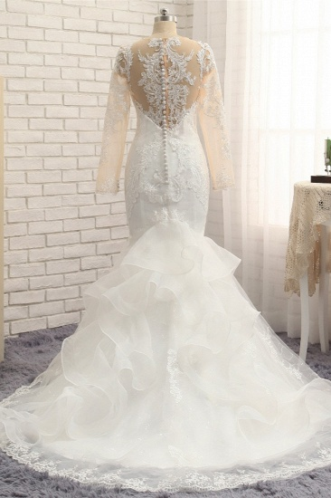 BMbridal Elegant Jewel Mermaid Lace Wedding Dress Long Sleeves White Appliques Bridal Gowns On Sale_3