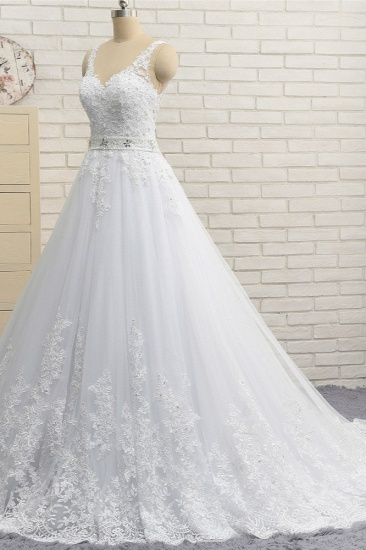 Stunning Straps V-Neck Tulle Appliques Wedding Dress Lace Sleeveless Bridal Gowns with Beadings Online_4