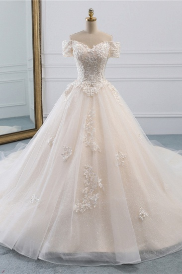 Affordable Off-the-Shoulder White Tulle Lace Wedding Dress Sweetheart Appliques Bridal Gowns On Sale_1