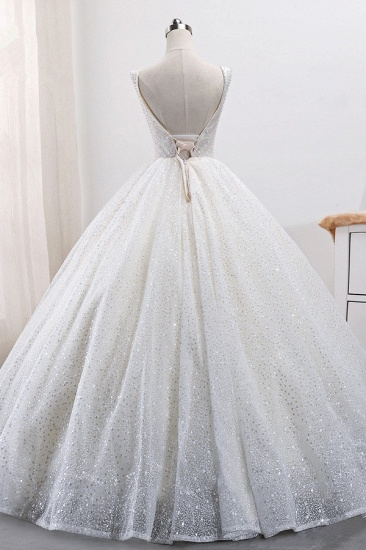 BMbridal Gorgeous Tulle V-Neck Ball Gown Wedding Dress Sparkly Sequined Sleeveless Bridal Gowns On Sale_3