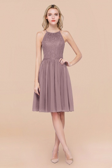 Lovely Burgundy Lace Short Bridesmaid Dress With Spaghetti-Straps_37