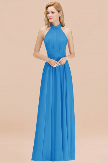 Gorgeous High-Neck Halter Backless Bridesmaid Dress Dusty Rose Chiffon Maid of Honor Dress_25