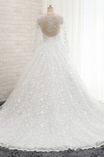 Elegant Jewel Longsleeves Lace Wedding Dresses White A-line Bridal Gowns With Appliques On Sale_3