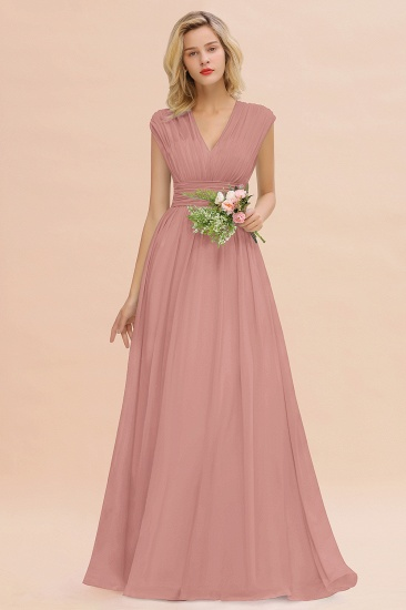Elegant Chiffon V-Neck Ruffle Long Bridesmaid Dresses Affordable_50