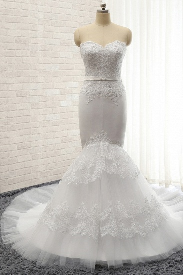 BMbridal Affordable Sweetheart White Lace Wedding Dresses Tulle Satin Bridal Gowns With Appliques On Sale_1