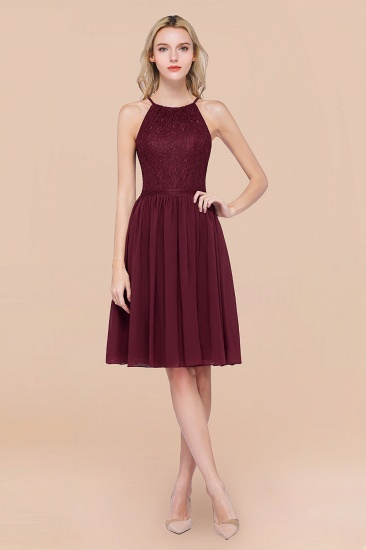 Lovely Burgundy Lace Short Bridesmaid Dress With Spaghetti-Straps_10