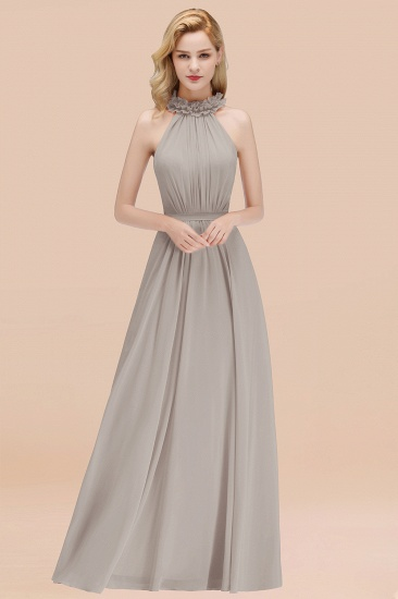 Modest High-Neck Halter Ruffle Chiffon Bridesmaid Dresses Affordable_30