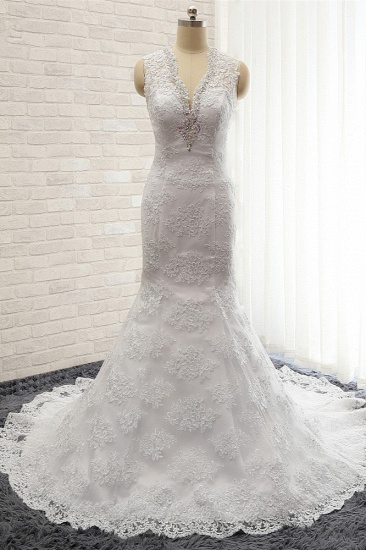 Chic Mermaid V-Neck Lace Wedding Dress Appliques Sleeveless Beadings Bridal Gowns On Sale_1