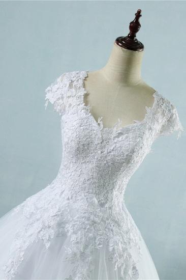 Elegant V-Neck Tull Lace White Wedding Dress Short Sleeves Appliques Bridal Gowns Online_4