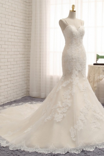Sexy Spaghetti Straps Mermaid Wedding Dresses Sleeveless Lace Bridal Gowns With Appliques Online_4